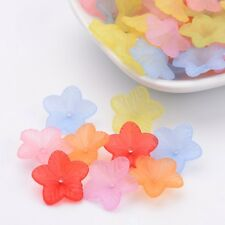 100pcs Dyed Mixed Frosted Transparent Acrylic Beads Flower Bead Caps 18x5.5mm