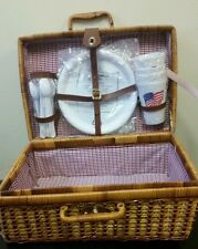 Wicker Picnic Basket for 4 - White/Blue/Red Checker/Plaid - Wicker Vintage Set