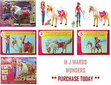 Barbie Feed and Cuddle Tawny Horse and Doll Playset BJX85 ** GREAT GIFT **