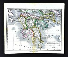 1831 Carey & Lea Map Ancient Greece Peloponnesus - Athens Sparta Corinth Olympia