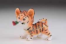 Baby Tiger Faberge trinket box hand made by Keren Kopal with Austrian crystals