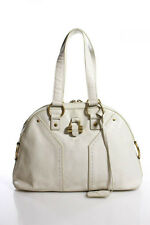 Yves Saint Laurent White Leather Gold Tone Muse Shoulder Handbag LL19LL