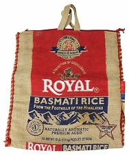 UPCYCLED DIY Royal Basmati Rice BURLAP Tote HANDBAG Boho Crafting Bag w/ Zipper