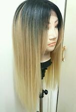 Blonde Human Hair Wig, Real Hair, Hair Blend, Long, Ombré, Dark Roots Lace Front