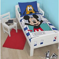 Mickey Mouse Polaroid Junior Cot Bed Blue Duvet Quilt Cover Set Toddler Boys Bed