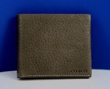 NWT COACH Men's BLP Double Bllfold Leather Wallet  in Sage 74595
