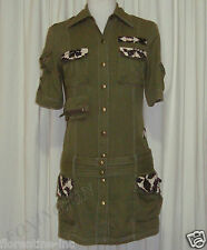 BEAUTIFUL SASS&BIDE MILITARY GREEN MINI SHIRT DRESS W'BELT AUS 8/10 US 4