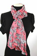B63 Zebra Animal Print Coral Black White Long Thick Scarf Shawl