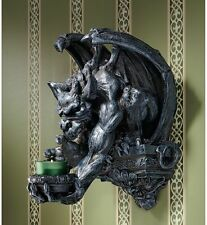 Ancient Gothic Menacing Winged Gargoyle Wall Perch Candle Holder Wall Sconce