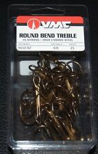 VMC 9650 Round Bend Treble Hooks Size 4/0 Pack of 25 9650BZ-40 Bronze 1X Strong