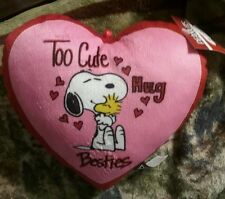 PEANUTS SNOOPY VALENTINES PILLOW HEART SNOOPY HUG N WOODSTOCK NEW