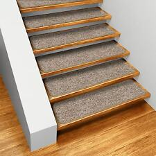 "Set of 15 SKID-RESISTANT Carpet Stair Treads 9""x36"" PEBBLE BEIGE runner rugs"