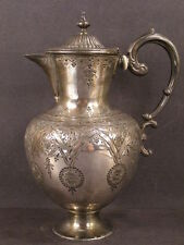 1800's Victorian Aesthetic Movement Silver Tea Pot Chocolate Chase Work Engraved