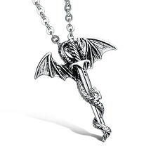 Hip Hop Mens Stainless Steel Flying Dragon Sword Pendant Personalized Necklace