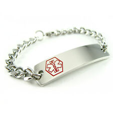MyIDDr - Pre Engraved - PEANUT ALLERGY Medical Alert ID Bracelet, Curb Chain