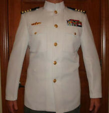 NAVY TOP GUN OFFICER CHOKER DRESS WHITE UNIFORM JACKET USN NAVAL