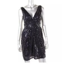 NWT AQUA Womens Navy Blue Mini Sequined Cocktail Holiday Dress 2 Bloomingdales