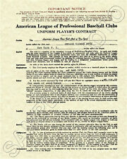 Babe Ruth Signed Contract  1930 - 1931 New York Yankees