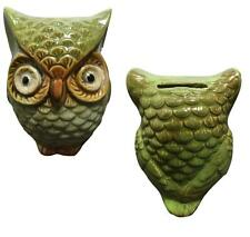 New! GREEN OWL CERAMIC GLOSSY PAINTED PIGGY BANK COIN MONEY HOLDER HOME DECOR