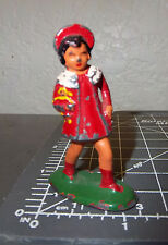 Vintage Lead toy, Young Girl in red, 2.25 inches tall, great collectible