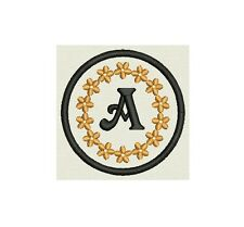 """3"""" Round Monogram Patch, Custom Embroidered with your initial"""