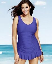 Kenneth Cole Reaction Swimsuit Plus Size 2X Ruched Ruffle-Hem Swimdress OCN