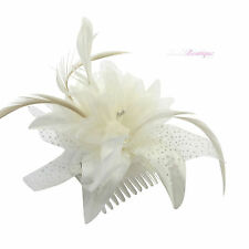 White/Cream/Ivory Flower/Hat Hair Fascinator Clip/Comb/Headband design options