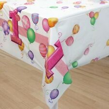 1st BIRTHDAY GIRL BALLOONS PLASTIC TABLECOVER ~ Birthday Party Supplies Pink One