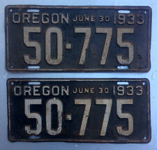 1933 Oregon license plate pair 50-775 truck commercial Ford Chevy Dodge