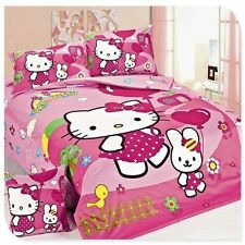NEW HELLO KITTY TWIN 4 PCS QUILT DUVET COVER BEDDING SET 100% COTTON US SELLER