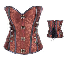 Womens Brown Leather Strips Steampunk Steel Boned Corset in size 8