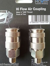 "NEW PACK OF 2 QUALITY HI FLOW AIR COUPLING 1/4"" BSP MALE THREAD AIR FITTING"
