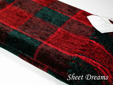 Churchill Weavers Berea Handwoven Chenille Forest Green Burgundy Throw Blanket