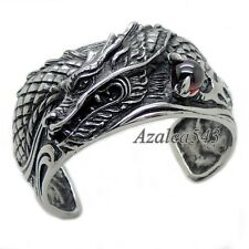 Men's Huge Heavy Dragon King Red CZ 316L Stainless Steel Bangle Cuff Bracelet