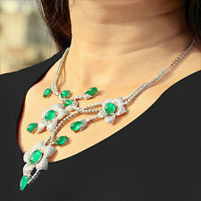 18k White Gold Emerald Gemstone Flower Pendant Necklace Diamond Earrings Jewelry