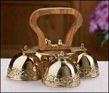 4-Bell Embossed Brass Altar Bells NEW SKU GC809