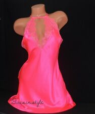 VICTORIA'S SECRET Satin & Eyelash Lace High Neck Midi Slip Babydoll Teddy Pink L