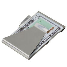Slim Money Clip Double Sided Cash Credit Card Holder Wallet Stainless Steel FE