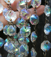 "35"" AB Aurora Borealis Peacock Rainbow Crystal Lamp Part Glass Chain Arts Crafts"