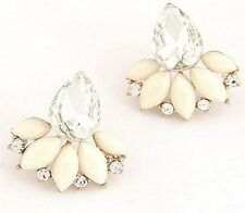 VINTAGE STYLE FLOWER CRYSTAL LEAVES TEARDROP EAR CUFF STUD EARRINGS
