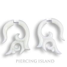 Paar ! Weisse Ohrringe aus Knochen Fake Piercing Design Schmuck  F119