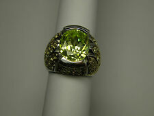 Sterling Silver yellow green pave crystal size 6 1/4 oval dome ring