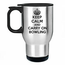 KEEP CALM AND CARRY ON BOWLING STAINLESS STEEL THERMAL TRAVEL MUG GIFT LAWN BALL