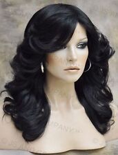 farrah fawcett Glamorous New Big open Wavy Off Black Wig Medium  CA 1B