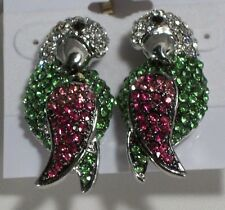 Elegant Pave Pink Clear Green Crystal Silver Plated Parrot Pierced Earrings