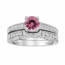 Pink Tourmaline and Diamonds Engagement Ring & Wedding Band Sets 14K White Gold