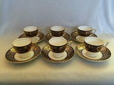 **BEAUTIFUL** Minton 'T Goode & Co' Cobalt Blue & Gold 6 x Coffee Cups & Saucers