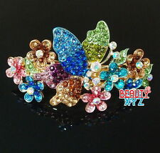 New Multi-color Crystal Gold Tone Metal Butterfly hair claws clips Barrette 21