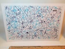 Mass outsider art abstract doodle eames atomic blue navy grey space folk brain