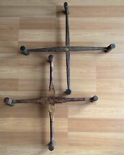 OLD VTG ANTIQUE WOOD EARLY WOOL YARN SPINNER WINDER LOOM CROSS PIECE LOT OF 2